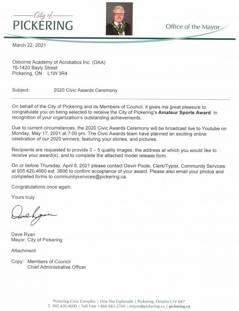 City of Pickering - Amateur Sports Award 2020